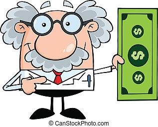 professor, mostrando, um dólar, conta