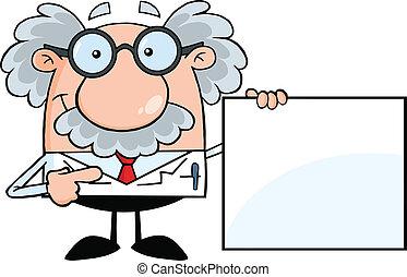 professor, mostrando, um, sinal branco