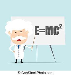 professor, og, videnskabsmand, aflægger, einstein, formel