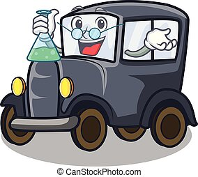 Professor old car isolated in the cartoon