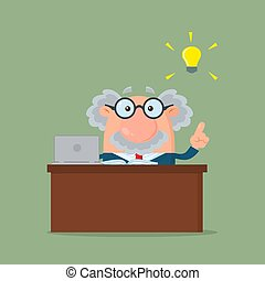Professor Or Scientist Cartoon Character Behind Desk With A Big Idea