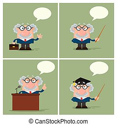 Professor Or Scientist Cartoon Character. Collection - 4