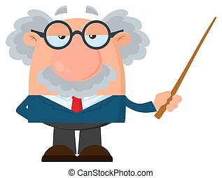 Professor Or Scientist Cartoon Character Holding A Pointer