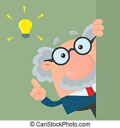 Professor Or Scientist Cartoon Character Looking Around Corner With A Big Idea