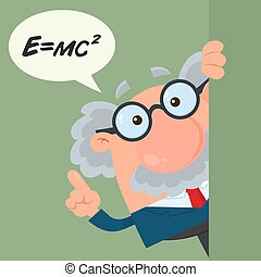 Professor Or Scientist Cartoon Character Looking Around Corner With Speech Bubble And Einstein Formula