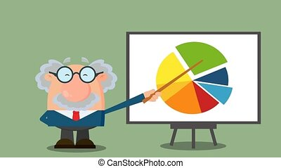 Professor Or Scientist Cartoon Character Pointing Progressive Pie Chart On A Board. 4K Animation Video Motion Graphics With Background