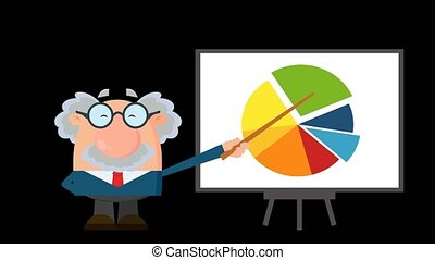 Professor Or Scientist Cartoon Character Pointing Progressive Pie Chart On A Board. 4K Animation Video Motion Graphics Without Background