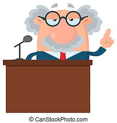 Professor Or Scientist Cartoon Character Speaking Behind a Podium