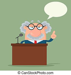 Professor Or Scientist Cartoon Character Speaking Behind a Podium With Speech Bubble