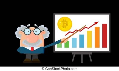 Professor Or Scientist Cartoon Character With Pointer Discussing Bitcoin Growth With A Bar Graph