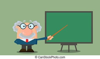 Professor Or Scientist Cartoon Character With Pointer Presenting On A Board. 4K Animation Video Motion Graphics With Background