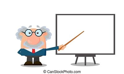 Professor Or Scientist Cartoon Character With Pointer Presenting On A Board. 4K Animation Video Motion Graphics Without Background