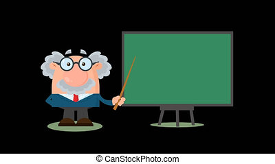 Professor Or Scientist Cartoon Character With Pointer ...