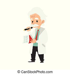 Professor or scientist writing idea in a notebook vector illustration isolated.