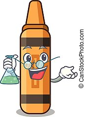 Professor orange crayon isolated in the character vector...