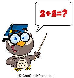 Professor Owl Cartoon Character - Owl Teacher Cartoon...