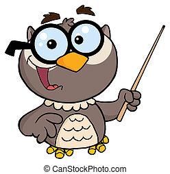 Owl Teacher Cartoon Character With A Pointer
