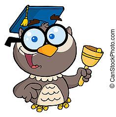 Professor Owl Ringing A Bell - Owl Teacher With Graduate Cap...