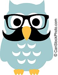 Professor Owl with mustache and glasses