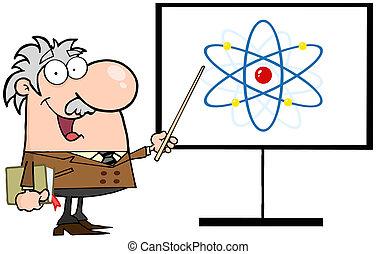 professor, peka, en, atom, underteckna