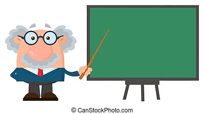 professor, personagem, ou, cientista, apresentando, ponteiro, caricatura, tábua