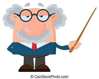 professor, personagem, ou, cientista, segurando, ponteiro, caricatura