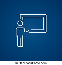 Professor pointing at blackboard line icon. - Professor...
