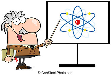 Professor Pointing To An Atom Sign - Happy Caucasian...