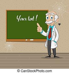 Professor points to blackboard