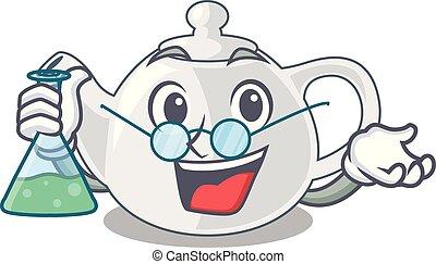 Professor porcelain teapot ceramic isolate on mascot