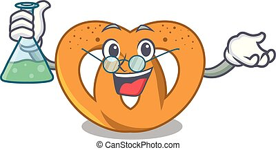 Professor pretzel character cartoon style