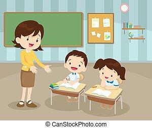 professor, pupilas, sala aula
