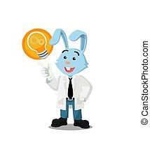 professor rabbit got an idea vector illustration