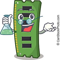 Professor RAM memory card the mascot shape vector...