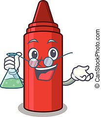 Professor red crayon in the character shape vector...