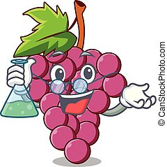 Professor red grapes fruit isolated in character vector...