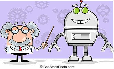 professor, seu, ponteiro, robô, mostra