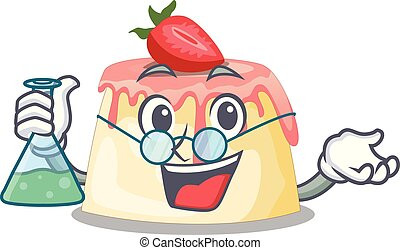 Professor Strawberry pudding on wooden cartoon table vector...