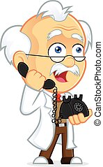 Professor Talking on the Phone - Clipart Picture of a...