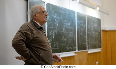 Professor teacher (real, not an artist) gives a lecture on...