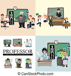 professor teaching at the blackboard, university education concept