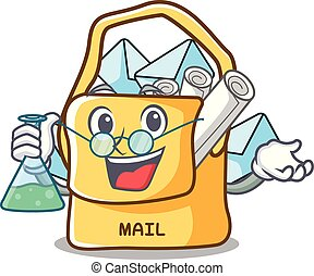 Professor the bag with shape mail cartoon vector ilustration