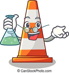 Professor traffic cone on Made in cartoon vector...