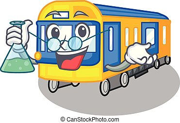 professor, trem metrô, brinquedos, forma, mascote