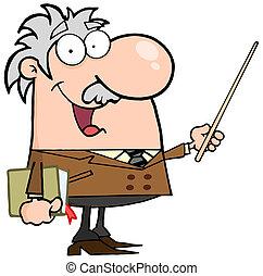 Professor Using A Pointer Stick - Happy Caucasian Professor...