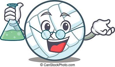 Professor volley ball character cartoon vector illustration