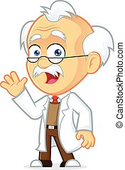 Professor Waving - Clipart Picture of a Professor Cartoon...