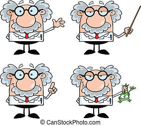 professor, wissenschaftler, oder, sammlung, 4