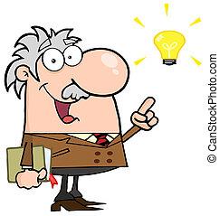 Professor With A Bright Idea - Happy Caucasian Professor...