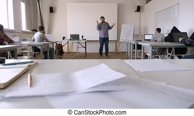 Animation, media school concept. Project presentation. Startup presenting background. Speaking to audience in classroom, hall. Expert shares his experience. Web page. Classes at private school.